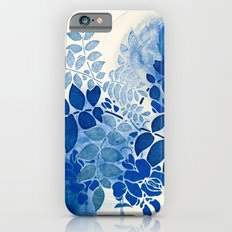 monochrome floral in blue iPhone 6s Slim Case
