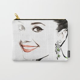Classical Beauty, Fashion Painting, Fashion IIlustration, Vogue Portrait, Black and White, #13 Carry-All Pouch
