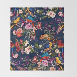 FLORAL AND BIRDS XII Throw Blanket