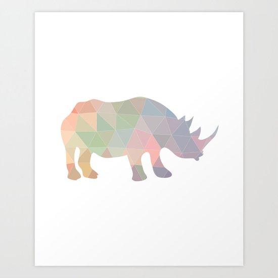 Geometric Rhino Art Print