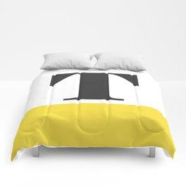 Monogram Letter T-Pantone-Buttercup Comforters