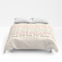 I'd choose you 3 #quotes #love #minimalism Comforters