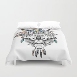 Bohemian Wolf with Feather Headdress Duvet Cover
