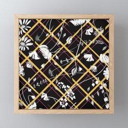 Flying Flowers Black Framed Mini Art Print