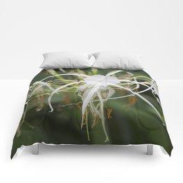 God's design white flower Comforters