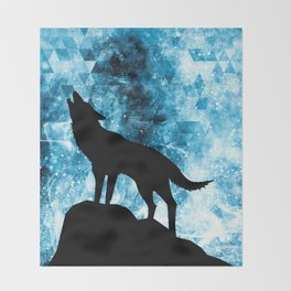 Howling Winter Wolf snowy blue smoke Throw Blanket