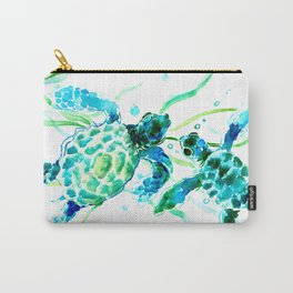 Sea Turtles, Turquoise blue Design Carry-All Pouch