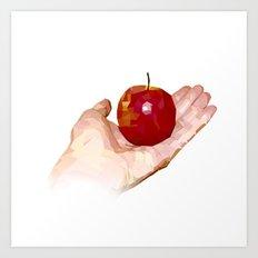 Geometric Apple in Hand Art Print