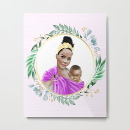 Mother of Color breastfeeding her baby in a ring sling baby carrier // watercolor framed botanicals  Metal Print