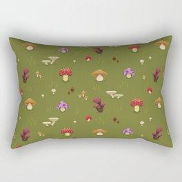 Pixel Mushrooms on Green Rectangular Pillow