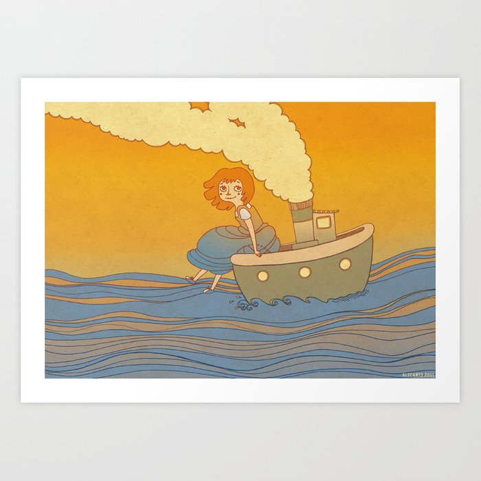 She landed on a passing by boat that took her to a little island Art Print