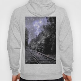 Train Tracks Next Stop Anywhere Periwinkle Gray Hoody