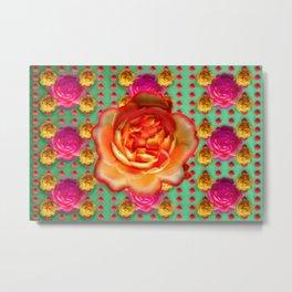 Marzipan roses on tart ... Metal Print
