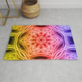Vibrant rainbow kaleidoscopes Rug