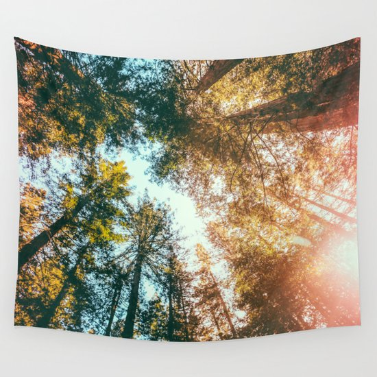 California Redwoods Sun-rays and Sky Wall Tapestry