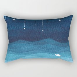 Falling stars, blue, sailboat, ocean Rectangular Pillow