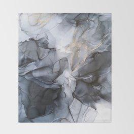Calm but Dramatic Light Monochromatic Black & Grey Abstract Throw Blanket