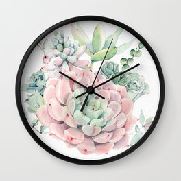 Pink Succulent by Nature Magick Wall Clock
