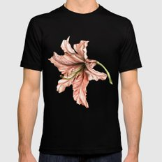 Pink Lily Flower Watercolor MEDIUM Mens Fitted Tee Black