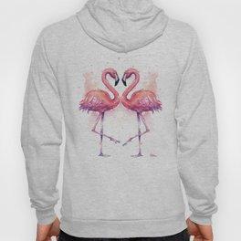 Flamingo Watercolor Two Flamingos in Love Hoody