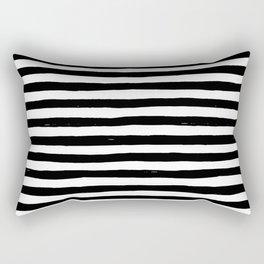 Black Bold Stripes Rectangular Pillow
