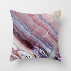 Purple & Pink Striped Agate Geode Quartz Slab Throw Pillow