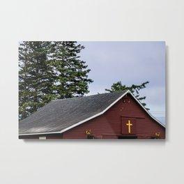 Cross and Barn Metal Print