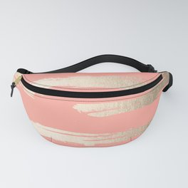 Simply Brushed Stripe in White Gold Sands on Salmon Pink Fanny Pack