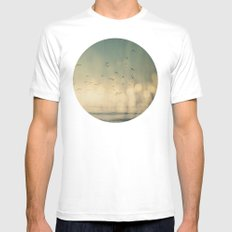 Where The Sky Meets The Sea  MEDIUM Mens Fitted Tee White