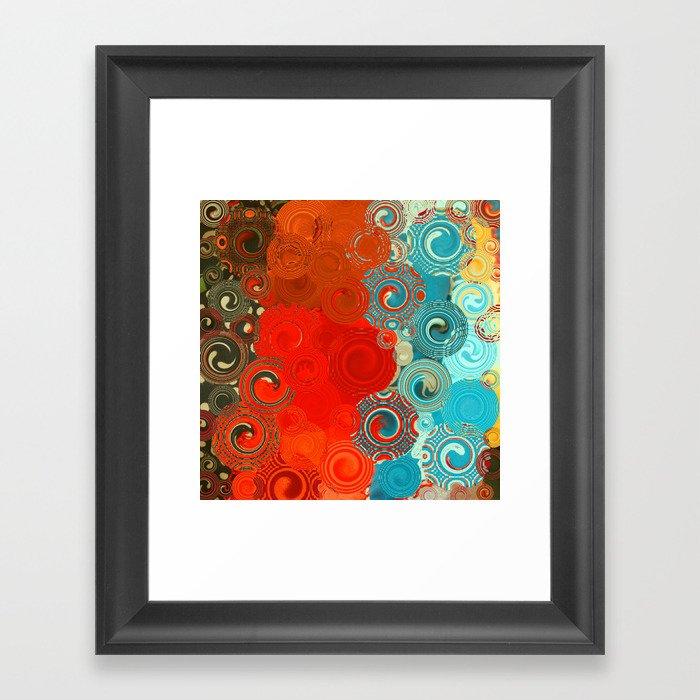 Turquoise and Red Swirls Gerahmter Kunstdruck