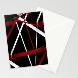 Seamless Red and White Stripes on A Black Background Stationery Cards