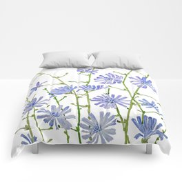 blue chicory watercolor Comforters