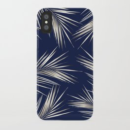 White Gold Palm Leaves on Navy Blue iPhone Case