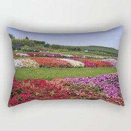 Floral patchwork under a blue sky Rectangular Pillow