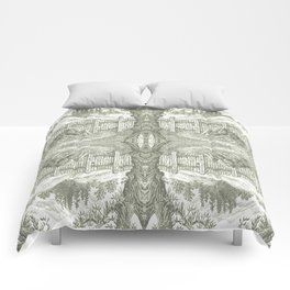 ONCE UPON A EUCALYPTUS VINTAGE PEN DRAWING Comforters