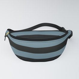 Inspired by Behr Blueprint Blue S470-5 Hand Drawn Fat Horizontal Lines on Black Fanny Pack