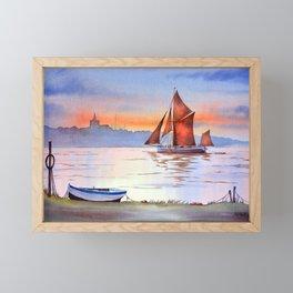 Thames Barge At Maldon England Framed Mini Art Print