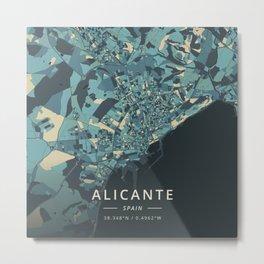 Alicante, Spain - Cream Blue Metal Print