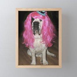 Funny St Bernard dog clowning around Framed Mini Art Print