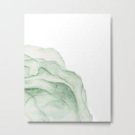 Printable Abstract Green Artwork, Watercolour Wall Art, Pastel Colour Artpiece Metal Print