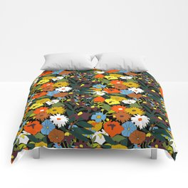 60's Swamp Floral in Midnight Black Comforters