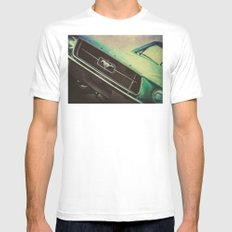 Galaxy Mustang MEDIUM White Mens Fitted Tee