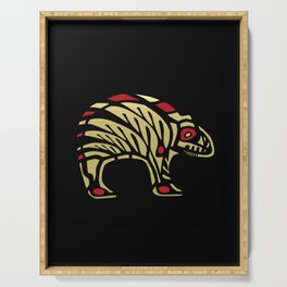 Tribal Black and Gold Bear Symbol Serving Tray