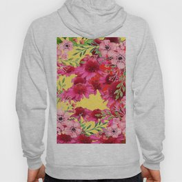 FUCHSIA-PINK FLOWERS YELLOW ART PATTERNS Hoody
