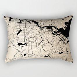 Amsterdam Gold on Black Street Map Rectangular Pillow