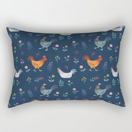 Little Hens (blue) Rectangular Pillow