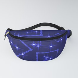 Sea rhombuses and squares in intersection with night stars on a blue background. Fanny Pack