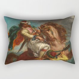 "Eugène Delacroix ""Greek horseman and an Ottoman Turk"" Rectangular Pillow"
