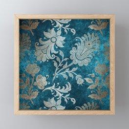 Aqua Teal Vintage Floral Damask Pattern Framed Mini Art Print