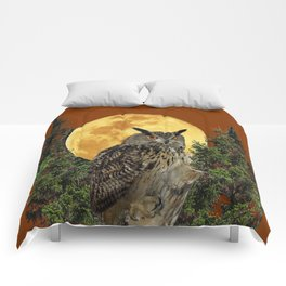 BROWN WILDERNESS OWL WITH FULL MOON & TREES Comforters